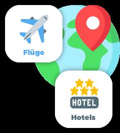 Weltweit Flüge & Hotels vergleichen Grafik